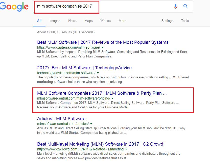 Google ranking - mlm software companies 2017
