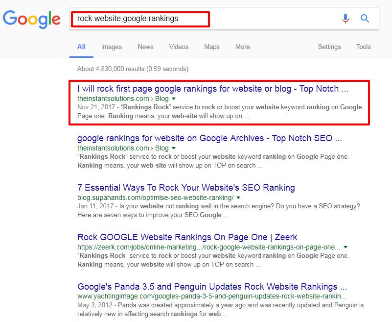rock website google rankings