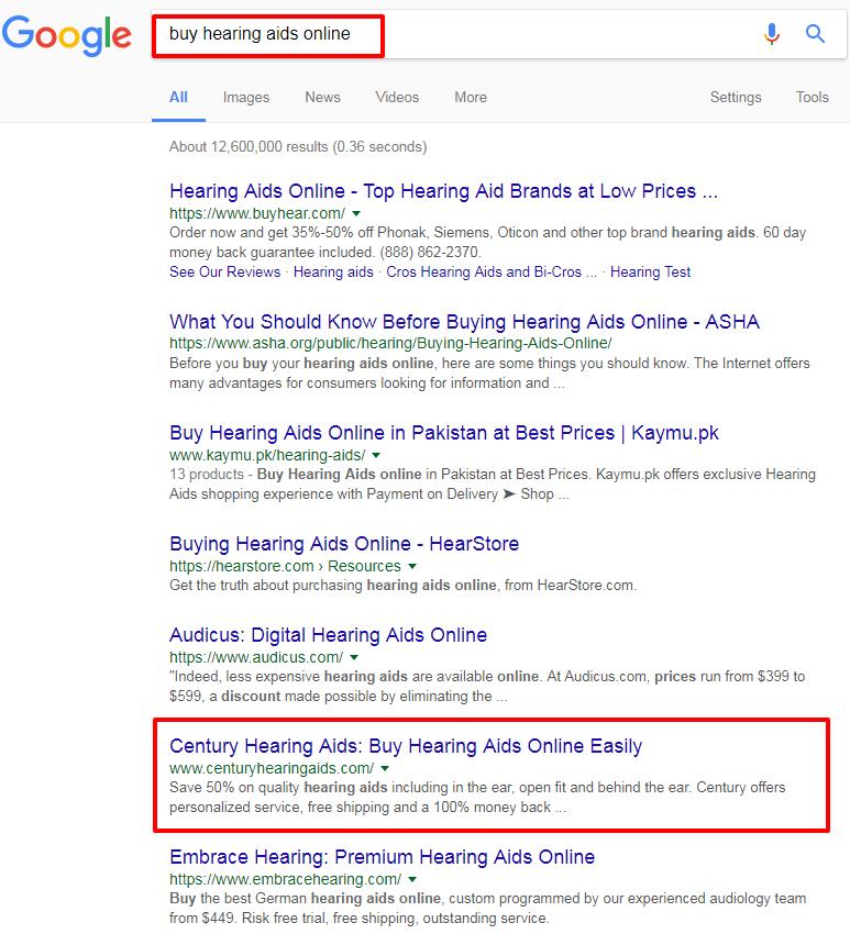Google Rankings - Buy Hearing Aids Online