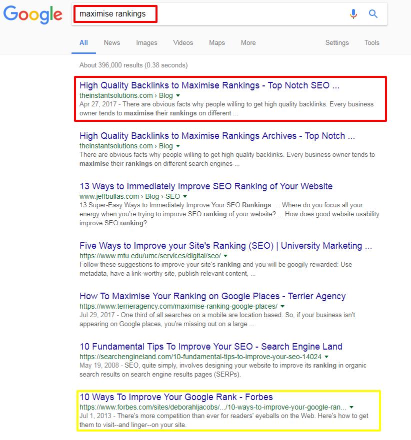 Google Rankings - maximise rankings